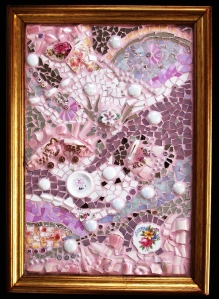 made of glass, broken crocery, jewellery, beads,millefiori