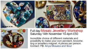 Mosaic jewellery workshop 14 November